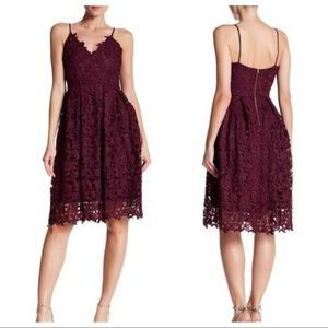 Love...Ady Open Lace Fit & Flare Knee Length Dress